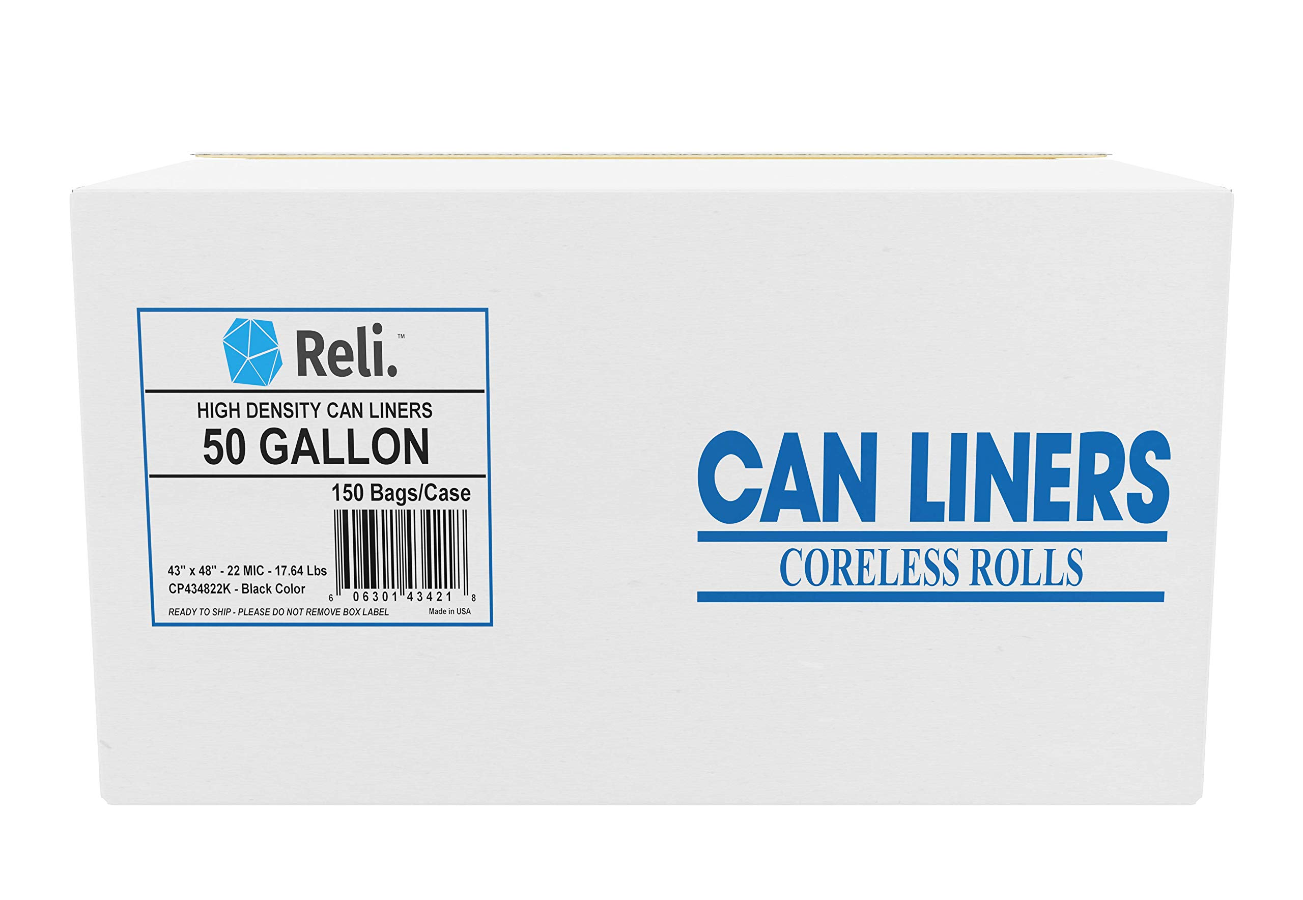 Reli. Trash Bags, 50 Gallon (150 Count) (Black) - Super Heavy High Density - Easy Grab Rolls - Can Liners, Garbage Bags with 45 Gallon (45 Gal) - 50 Gallon (50 Gal) Capacity