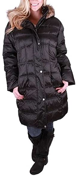 Utex Womens' Quilted Long Down Jacket with Faux Fur Trimmed Hood ... : quilted long down coat - Adamdwight.com