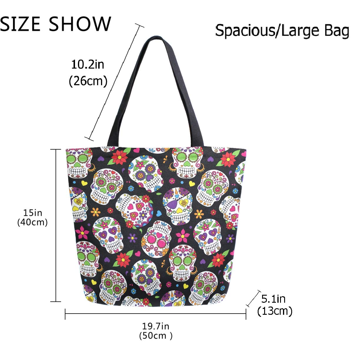 ZzWwR Chic Day of The Dead Sugar Skull Large Canvas Shoulder Tote Top Handle Bag for Gym Beach Travel Shopping