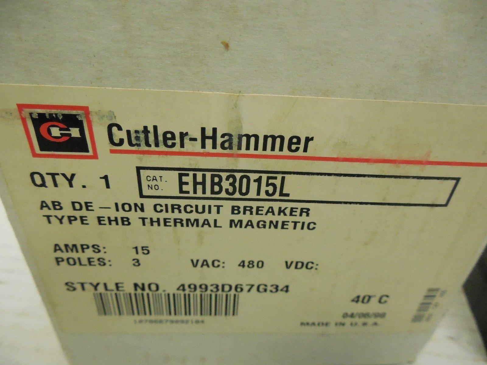 1- CUTLER HAMMER EATON EHB3015L 3-POLE 15-AMP 480V THERMAL MAGNETIC BREAKER EHB AB-DION