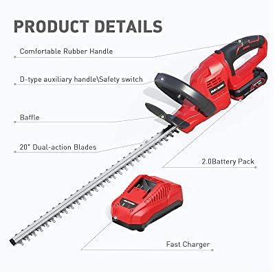 Bush Trimmer 2PCS 20V Batteries & Fast Charger Included Dual ...