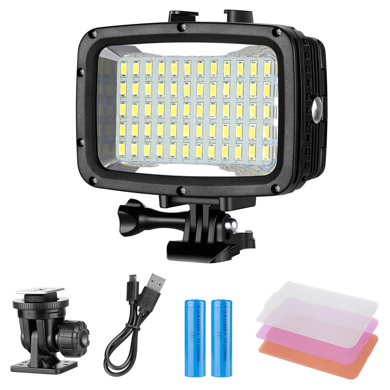 Neewer Underwater Lights Dive Light 60 LED Dimmable Waterproof LED Video Light 131feet/40m for GoPro Hero 6 5 4 Hero Session Canon Nikon Pentax and Other Action and DSLR Cameras (Battery Included)