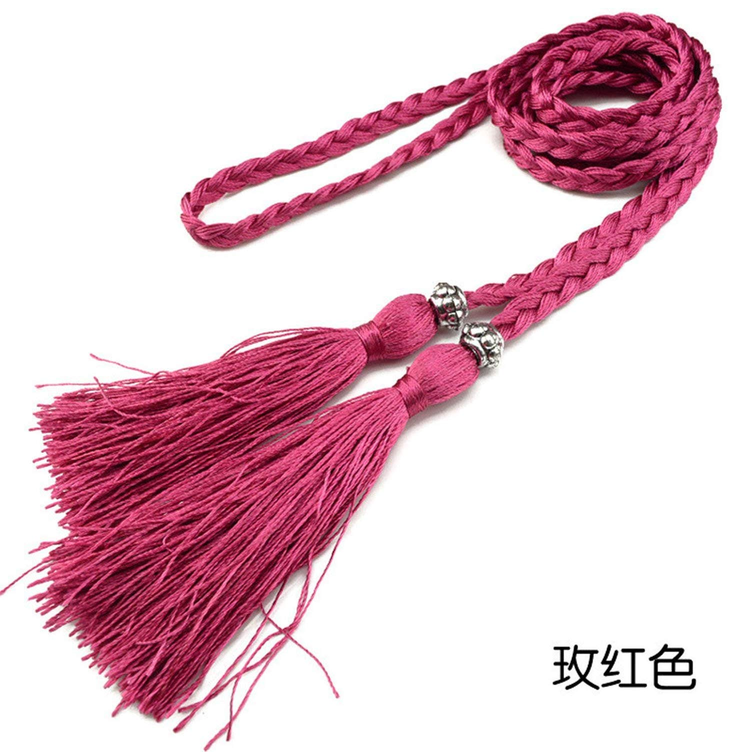 Mistere Fashion Womens Braided Belt Bowknot Rope Fine Woven Ladies With Tassels,160cm,Rose