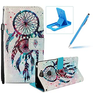 Wallet Leather Case for Sony Xperia XA2 Plus,Strap Flip Cover for Sony Xperia XA2 Plus,Herzzer Stylish Luxury 3D Special Effects [Day of Beautiful Pattern] Book Style Premium PU Leather Wallet Deisgn with Card Holder Slots Magnetic Closure Smart Stand with