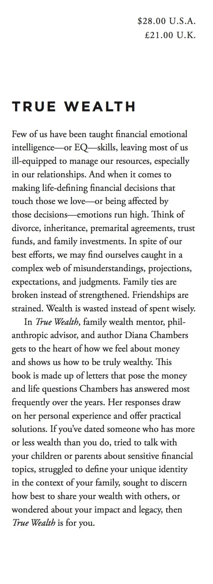 true wealth letters on money life and love diana chambers  true wealth letters on money life and love diana chambers   amazoncom books