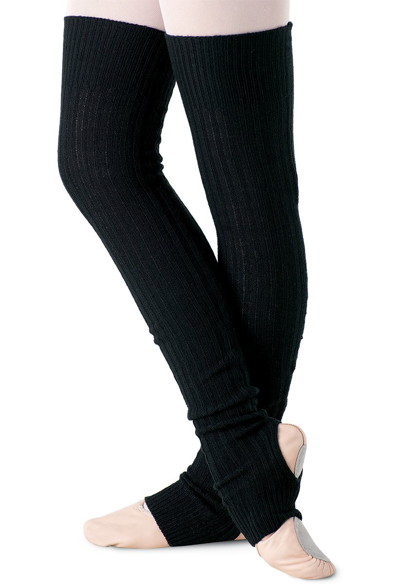 Balera Classic Stirrup Dance Leg Warmers Over-the-Knee Length Black ADLT