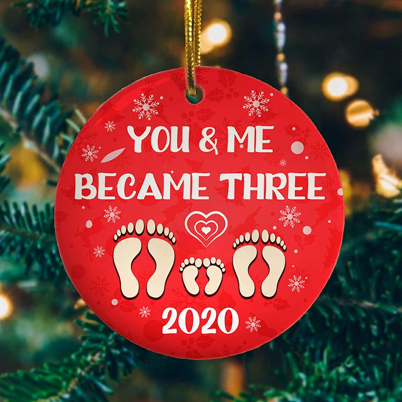 Cukudy You and Me We Became Three 2020 Christmas Ornament, Ornament, Mica Ornament, First Christmas Ornament, New Home ORN.
