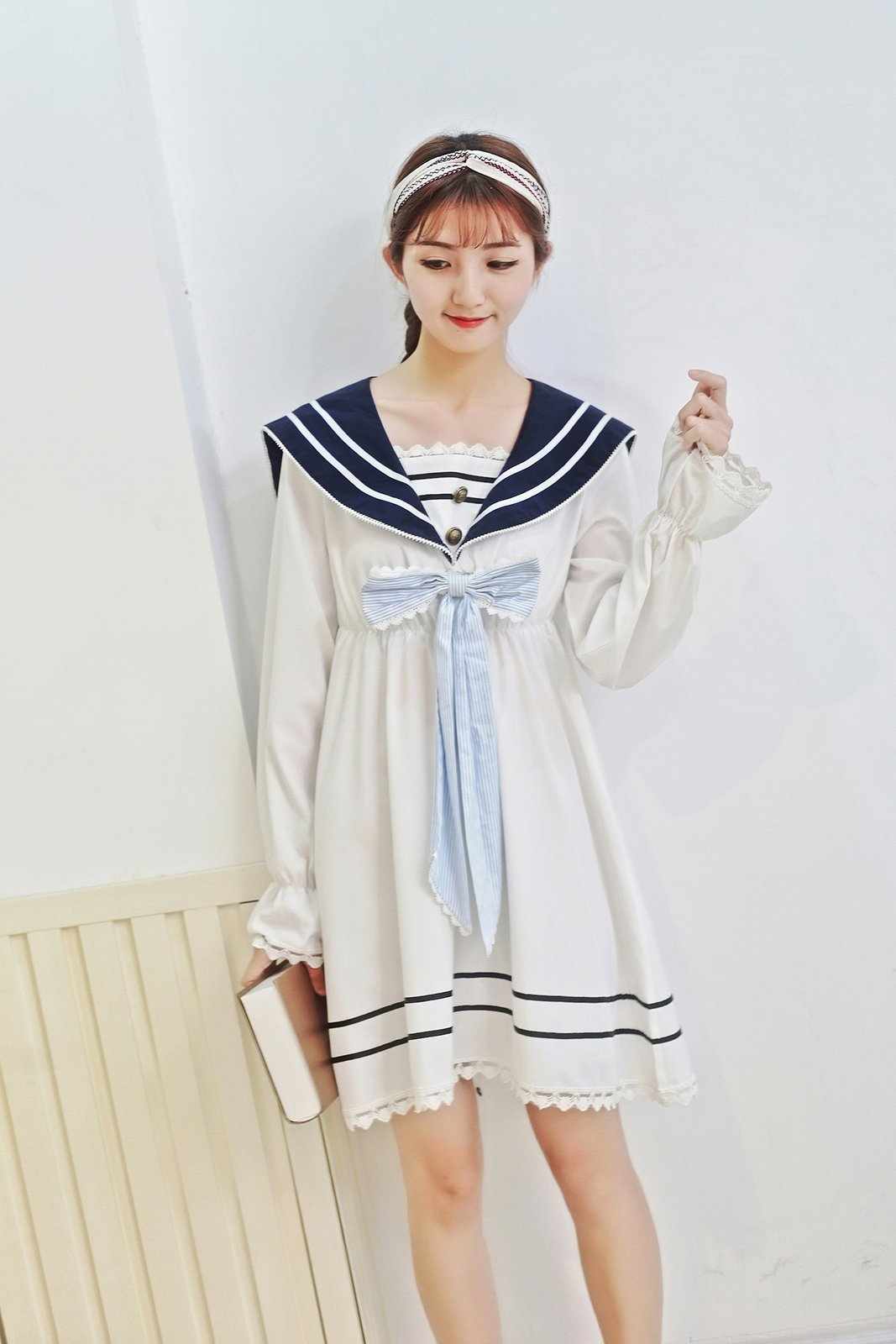 Lemail Girls Sailor School Uniform Chiffon Japanese Long Sleeve Pleated Mini Dress Blue 3XL by Lemail wig (Image #4)