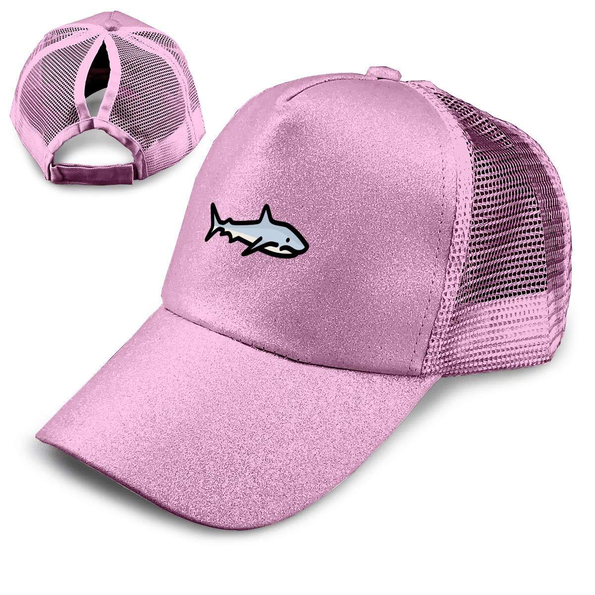 Shark Ponytail Hats for Women Messy Trucker Hat Plain Ponytail Baseball Visor Cap NewCap