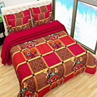 Home Pictures 100% Cotton Double BedSheet for Double Bed with 2 Pillow Covers Set, Candy Queen Size Bedsheet Series, 144 TC, 3D Printed Pattern