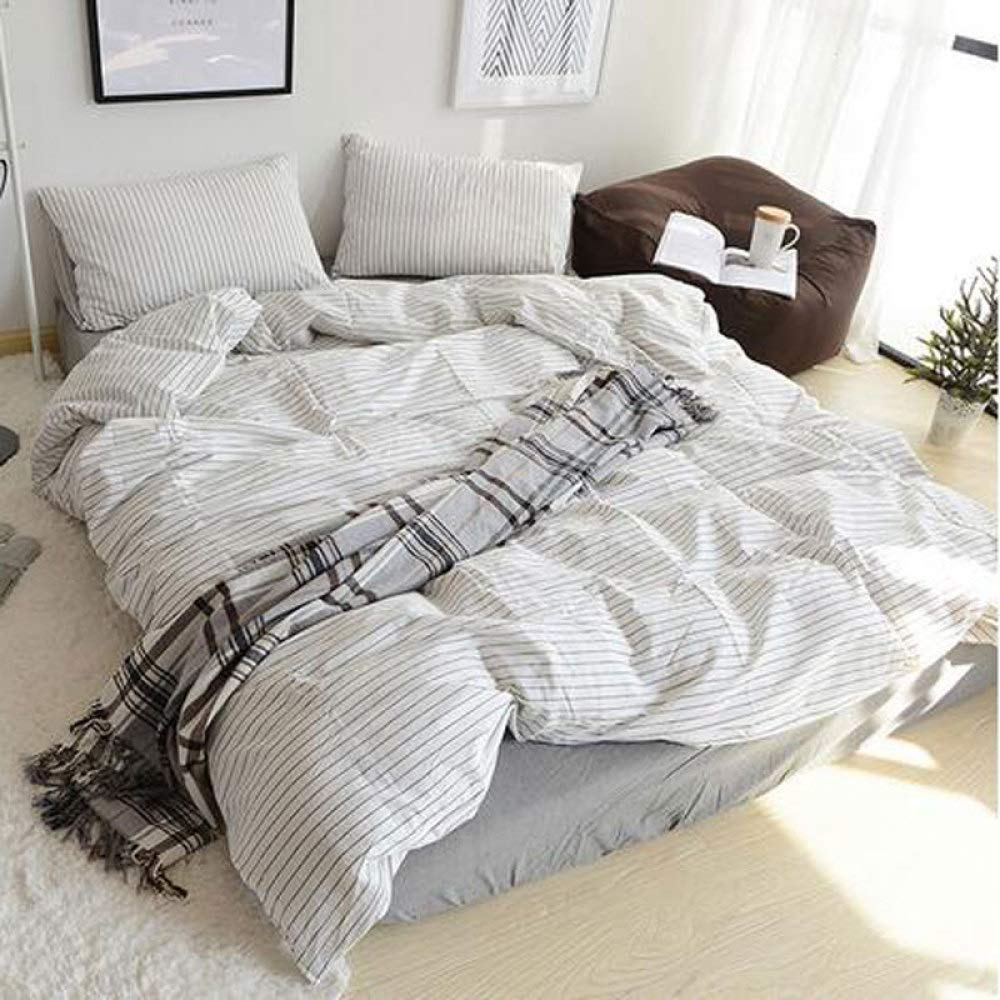 Comfortable Bed Cover Cotton Washed Cotton Four-Piece Cotton Striped Simple Bed Sheet Quilt Cover (Color : Fantasygray, Size : 1.8mbedcover)