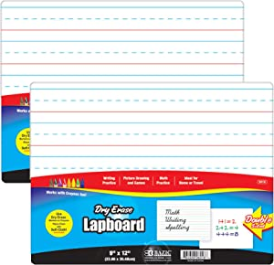 "BAZIC 9"" X 12"" Double Sided Dry Erase Lap Board, Primary Ruled & Blank, Ideal for Kids Learning Writing Drawing Coloring at Home School Class, 2-Pack"