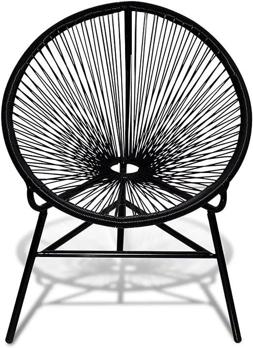 vidaXL Silla con Forma Ovalada para Jardín Exterior de Poli Ratán ...