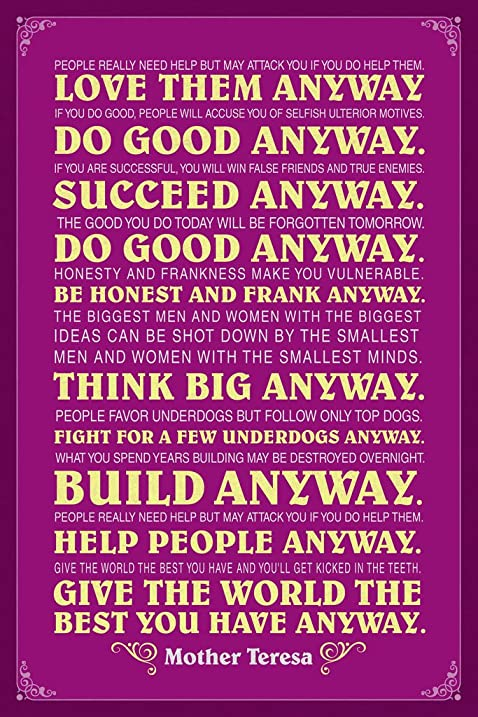 Mother Teresa Anyway Purple Quote Poster 12x18