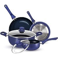 KUTIME 6pcs Cookware Set Non-stick Pots and Pans Set Blue Pan Non-stick Frying Pan Set Ceramic Coating Saucepan Stockpot…