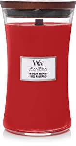 Woodwick Large Hourglass Scented Candle | Crimson Berries | with Crackling Wick | Burn Time: Up to 130 Hours Glass, Crimson Berries