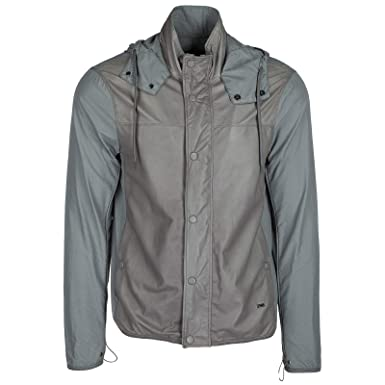 46f18fef253d Emporio Armani blouson homme en cuir à capuche gris EU 50 (UK 40) 3Z1BL7  1LBAZ 0645  Amazon.fr  Vêtements et accessoires