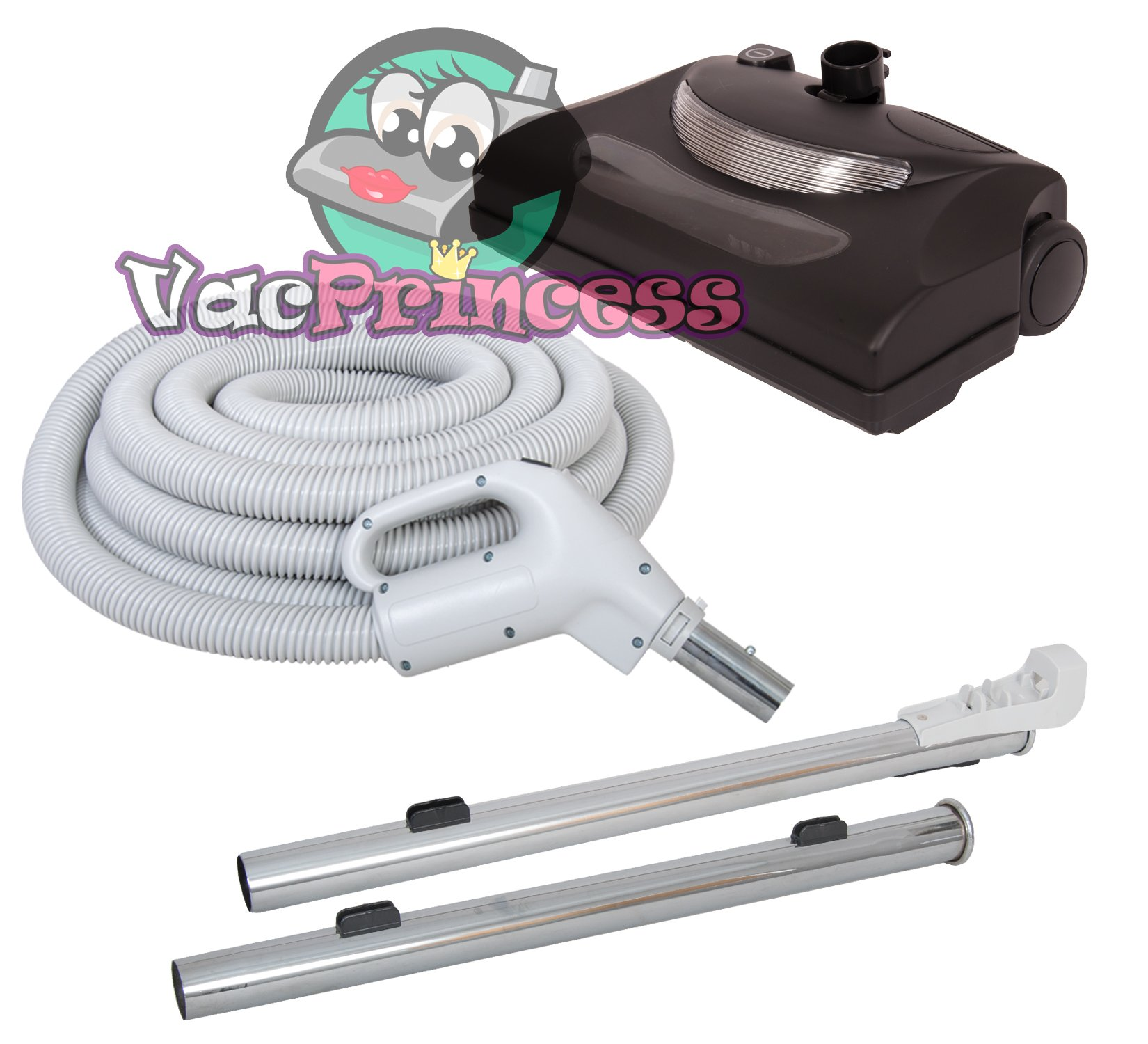 30' Central Vacuum Kit with Hose, Power Head & Wands - Black - Works with all brands of central vacuum units