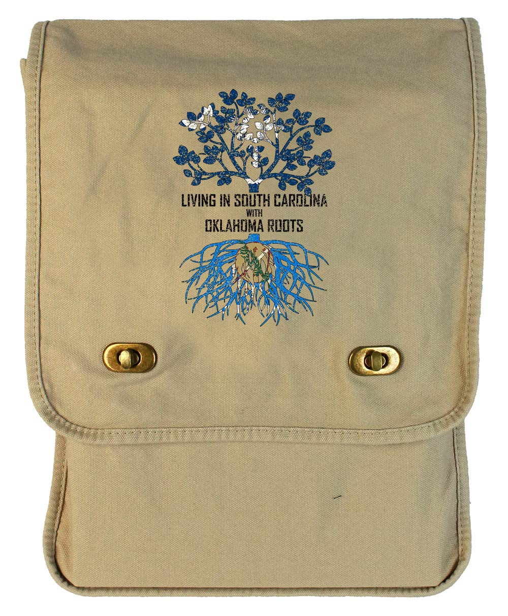 Tenacitee Living In South Carolina with Oklahoma Roots Grey Brushed Canvas Messenger Bag