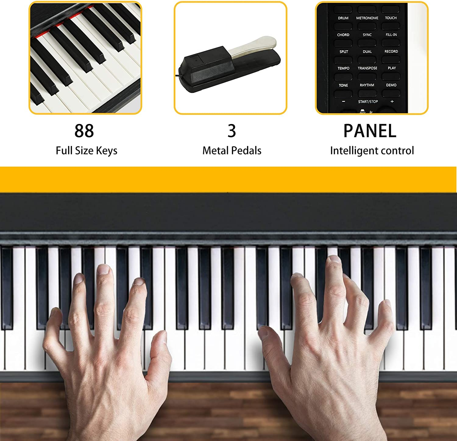 Music Stand LAGRIMA LAG-610 Full Size Key Portable Digital Piano Power Supply Sustain Pedal 88 Key Electric Keyboard Piano for Beginner//Adults with X Stand White Bluetooth
