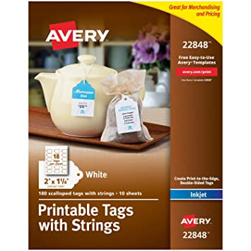 photo regarding Printable Tags With Strings titled Avery Scalloped Printable Tags for Inkjet Printers Just, Tags With Strings, 2\