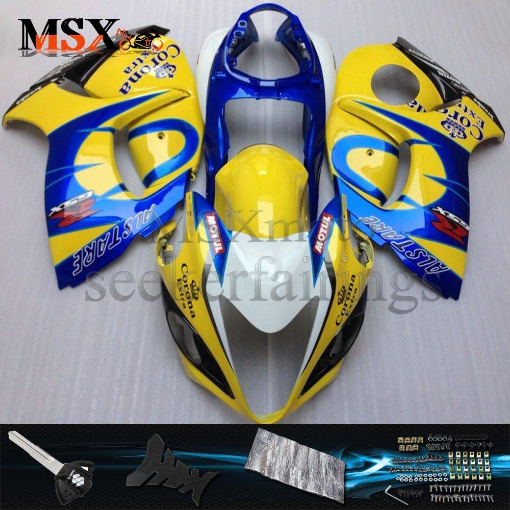 MSX-moto 適応ホンダ Suzuki GSXR1300 Hayabusa 08-16 GSXR 1300 2008 2009 2010 2011 2012 2013 2014 2015 2016年 外装パーツセット ABS射出成型完全なオートバイ車体 黄/イエロー&青/ブルーのボディ   B07F2BRR89