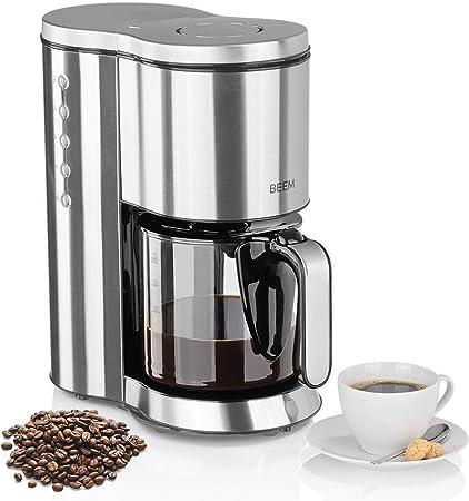 Beem Cafetera de filtro de acero inoxidable, jarra de cristal de 1 ...