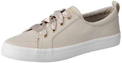 9c66665fa61 Sperry Women s Crest Vibe Satin LACE Sneaker Ivory M 050 Medium US