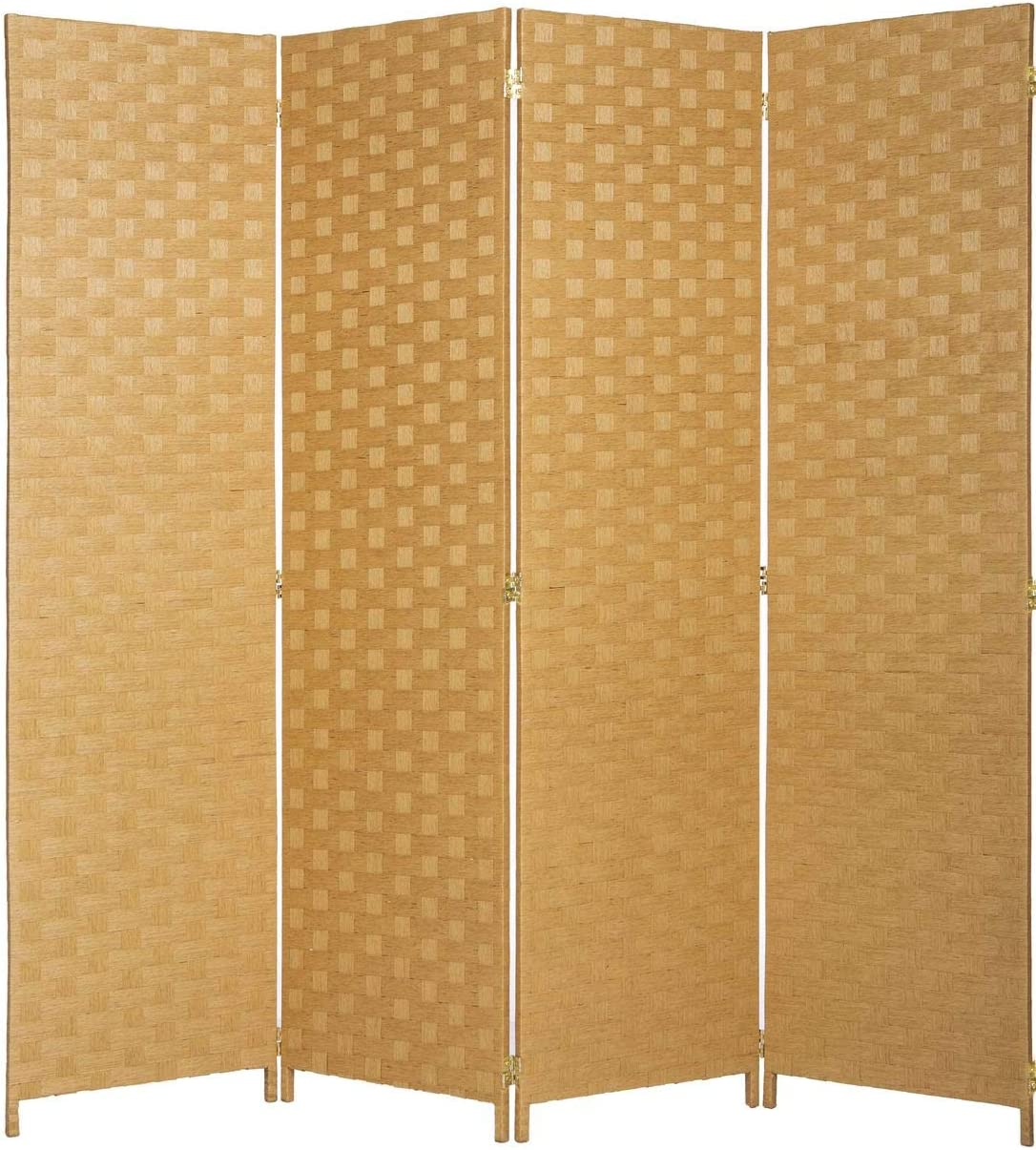 Privacy Partition Screen Legacy Decor Bamboo Woven Panel Room Divider 4 Panel Beige Color