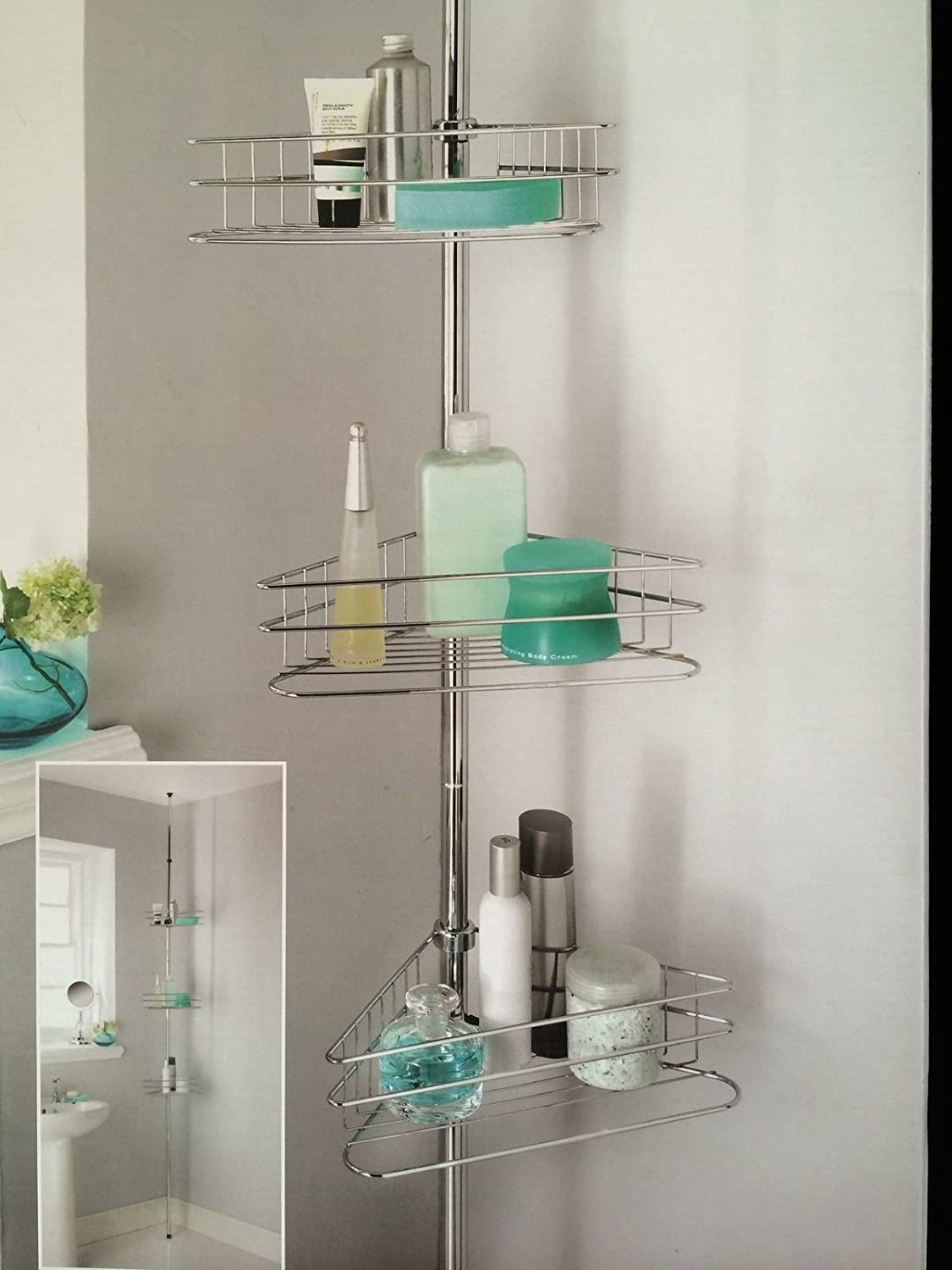 Deluxe Large 3 Tiers Adjustable Telescopic Corner Bathroom Shelves ...