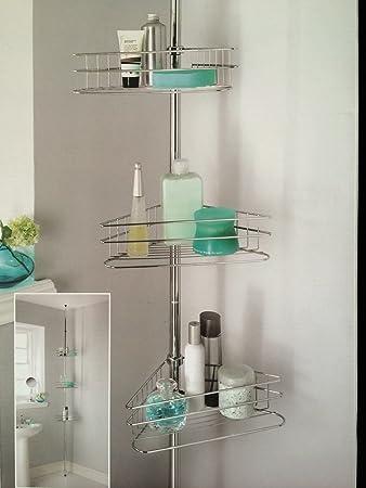 deluxe large 3 tiers adjustable telescopic corner bathroom shelves shower storage rack stainless steel organizer caddy - Corner Bathroom Shelf