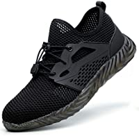 SUADEX Indestructible Steel Toe Shoes Men Women Work Safety Shoes Working Shoes Industrial Construction Sneakers 825 Black Size 14.5 Women/13 Men