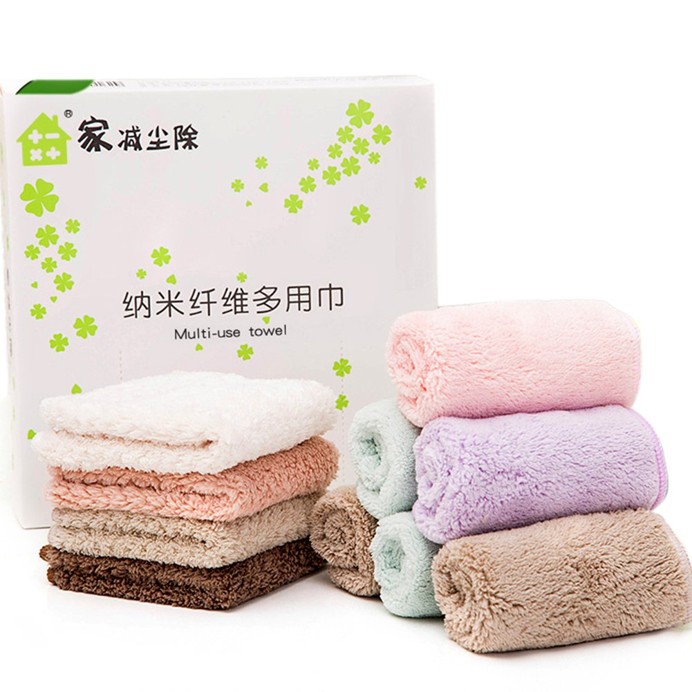 Kitchen Cleaning Cloths for All Purpose Dish Washing Soft and Super Absorbent Pack of 10 Coral Fleece Wash Towels HaloVa Dish Cloths