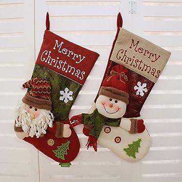 disumos 12 pcs Navidad calcetines regalo bolsa para dulces de fiesta decoración copo de nieve árbol de Navidad decoración: Amazon.es: Hogar