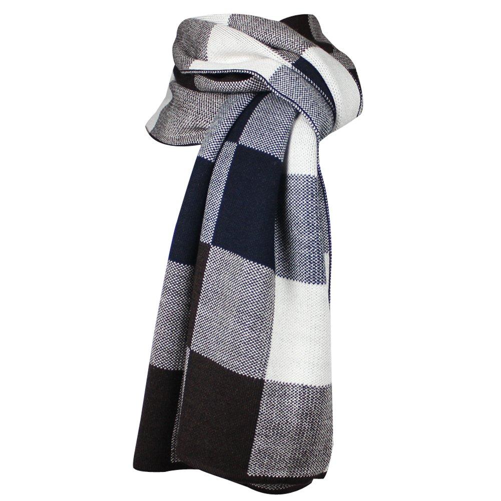 Mens invierno lana B0785KF6GQ Woolen Cowl Tartán grande lana bufanda ...