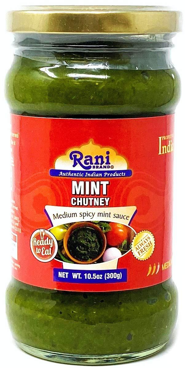 Rani Mint Chutney (Podina) Glass Jar, Ready to eat 10.5oz (300g) Vegan ~ Gluten Free | NON-GMO | No Colors | Indian Origin