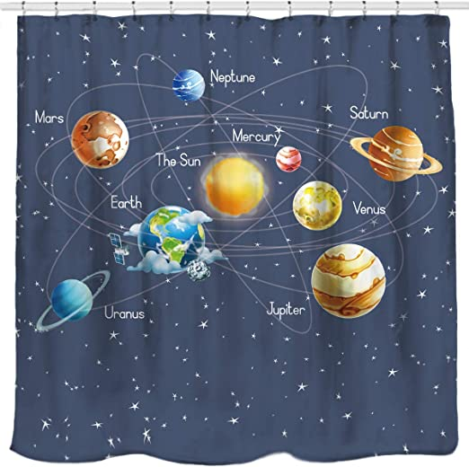 Nebula Galaxy Moon Space Plane.. Waterproof Bathroom Fabric Shower Curtain New