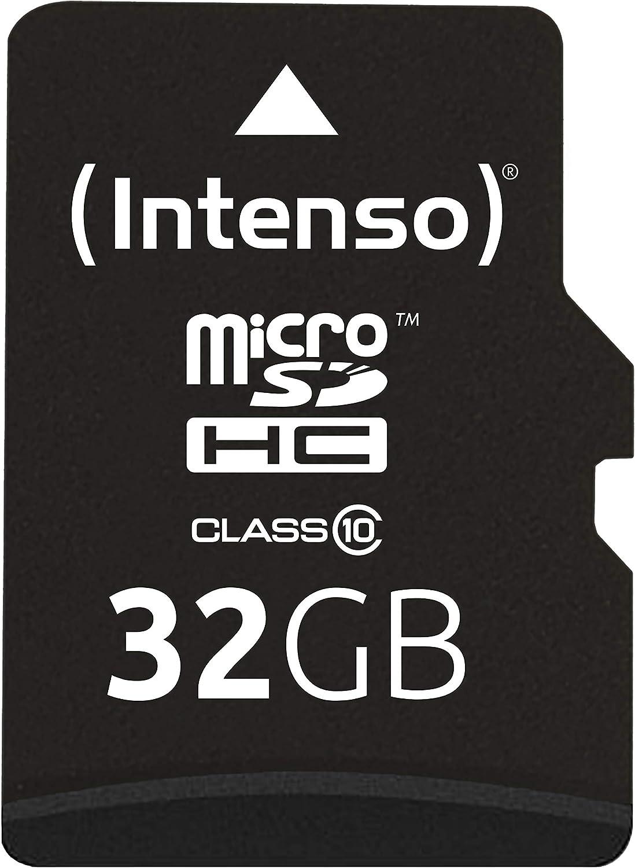 Intenso 3413480 - Tarjeta Micro SD de 32 GB (Adaptador SD Incluido, Clase 10), Color Negro