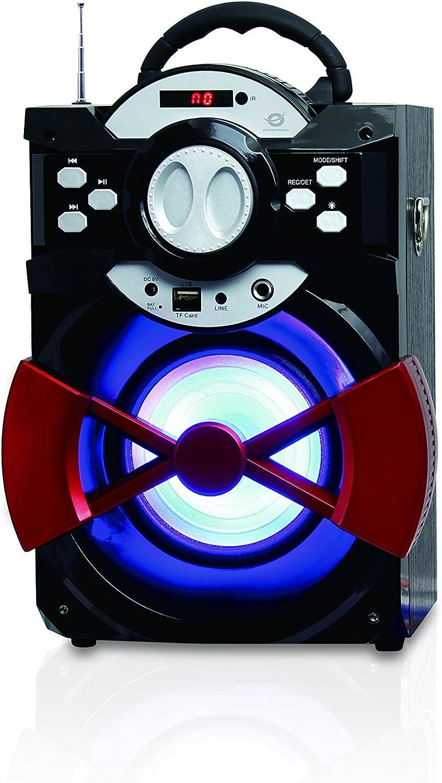 Conceptronic CSPKBTBASSPARTY 20 W Negro, Rojo - Altavoces portátiles (20 W, 100-20000 Hz, 80 dB, Inalámbrico y alámbrico, USB Tipo A, Negro, Rojo)