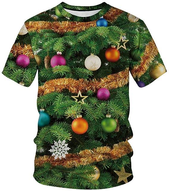 b3db86e8aabb Imbry Mens 3D Printed Christmas T Shirts Santa Snowflake Suit Ugly Shirt  (S