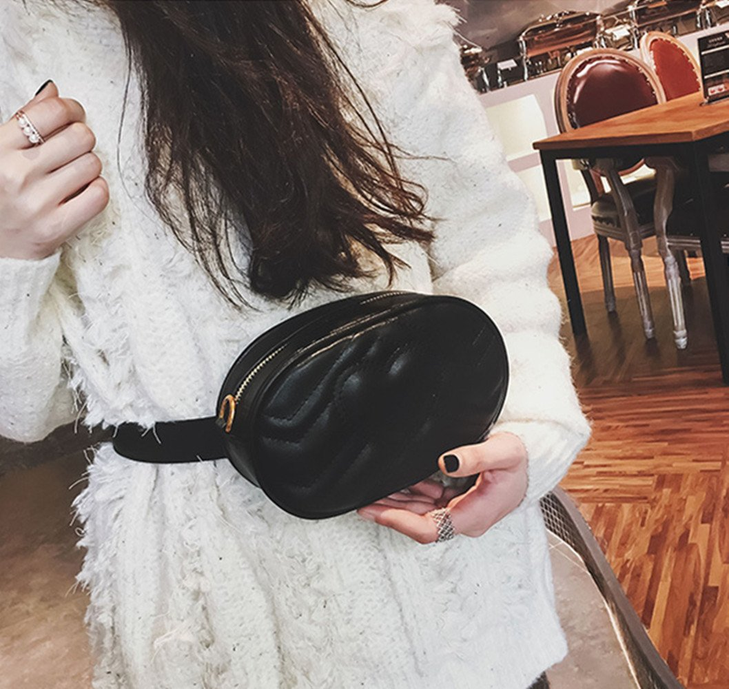 Olivia Elegant Leather Fanny Pack Embroidery Love Pattern PU Leather Waist Bag Bum Bag Travel Cell Phone Bag Pouch(Heart Black) by Olivia (Image #3)