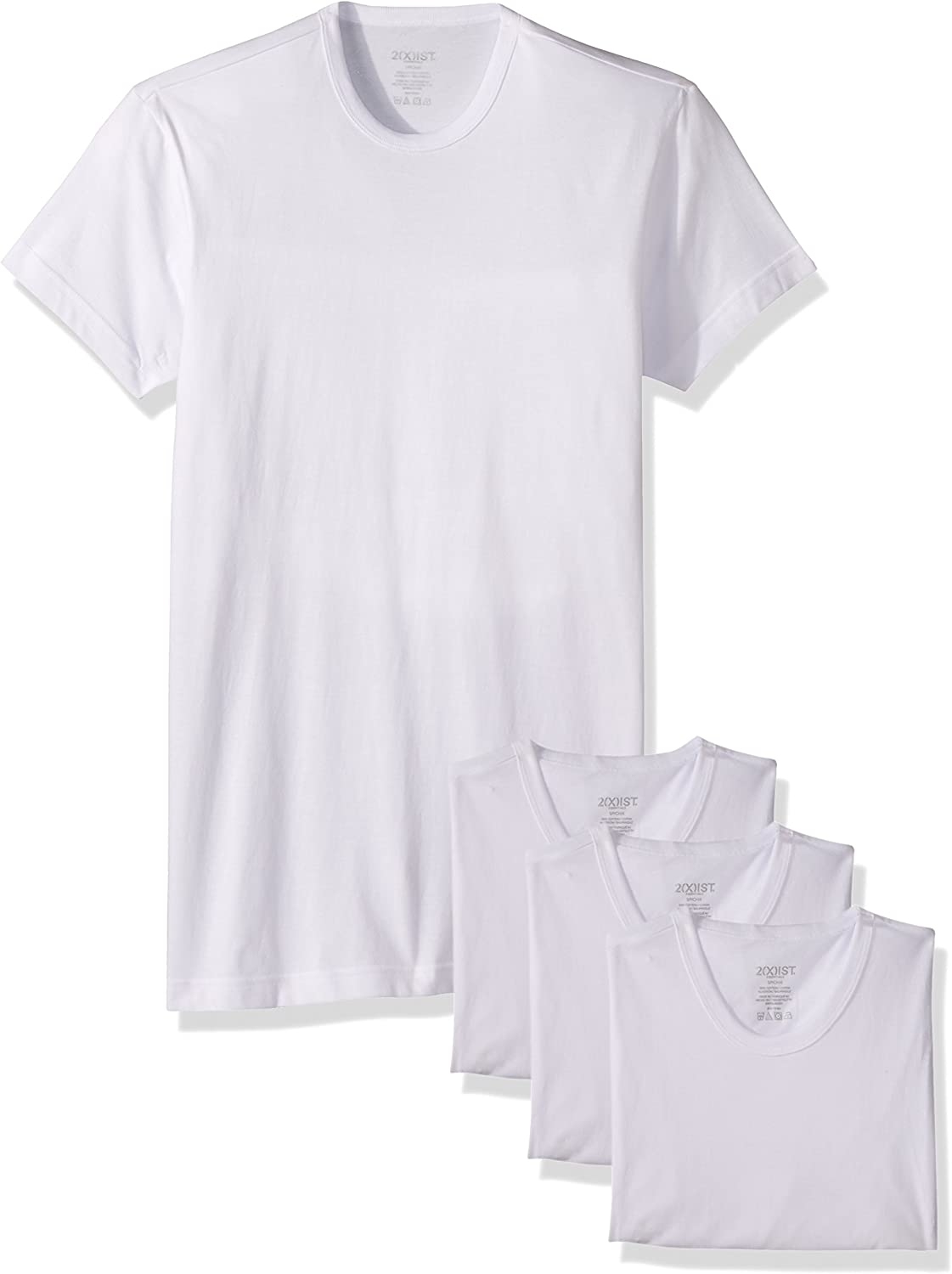 2(X)IST Mens Essential Cotton Slim Fit Crew Neck T-Shirt 3-Pack Base Layer Top