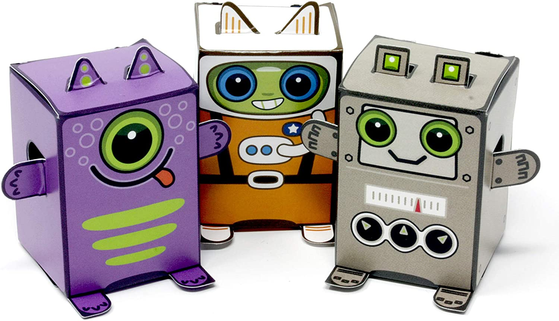 Pack de 12 minicajas de exploradores de Espacio Box Buddies Galactics Divertidos Recuerdos de Papel para Fiestas