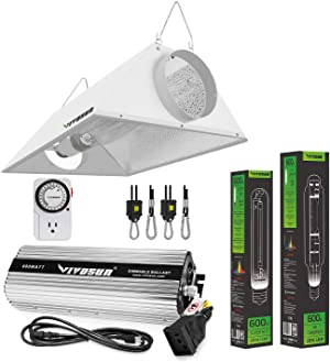 VIVOSUN Hydroponic 600 Watt HPS MH Grow Light Air Cooled Reflector Kit - Easy to Set up, High Stability & Compatibility (Enhanced Version)