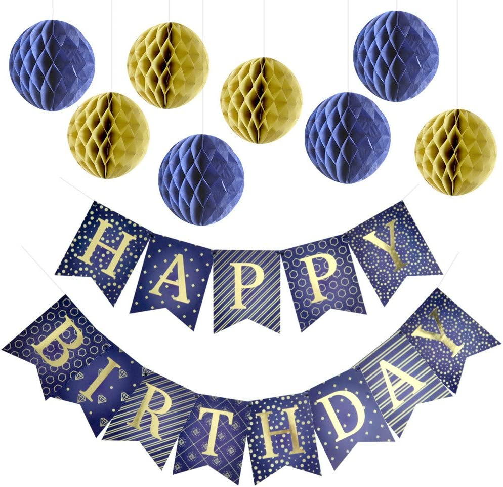 Enfy Happy Birthday Banner Party Decorations with 8 Tissue Paper Pom Pom Balls - Premium Quality Blue Bunting Banner with Shiny Gold Letters - Party Supplies - for Kids and Adults