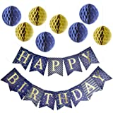 Happy Birthday Banner Party Decorations with 8 Tissue Paper Pom Pom Balls - Premium Quality Purple - Blue Bunting Banner With Shiny Gold Letters - Party Supplies - for Kids and Adults