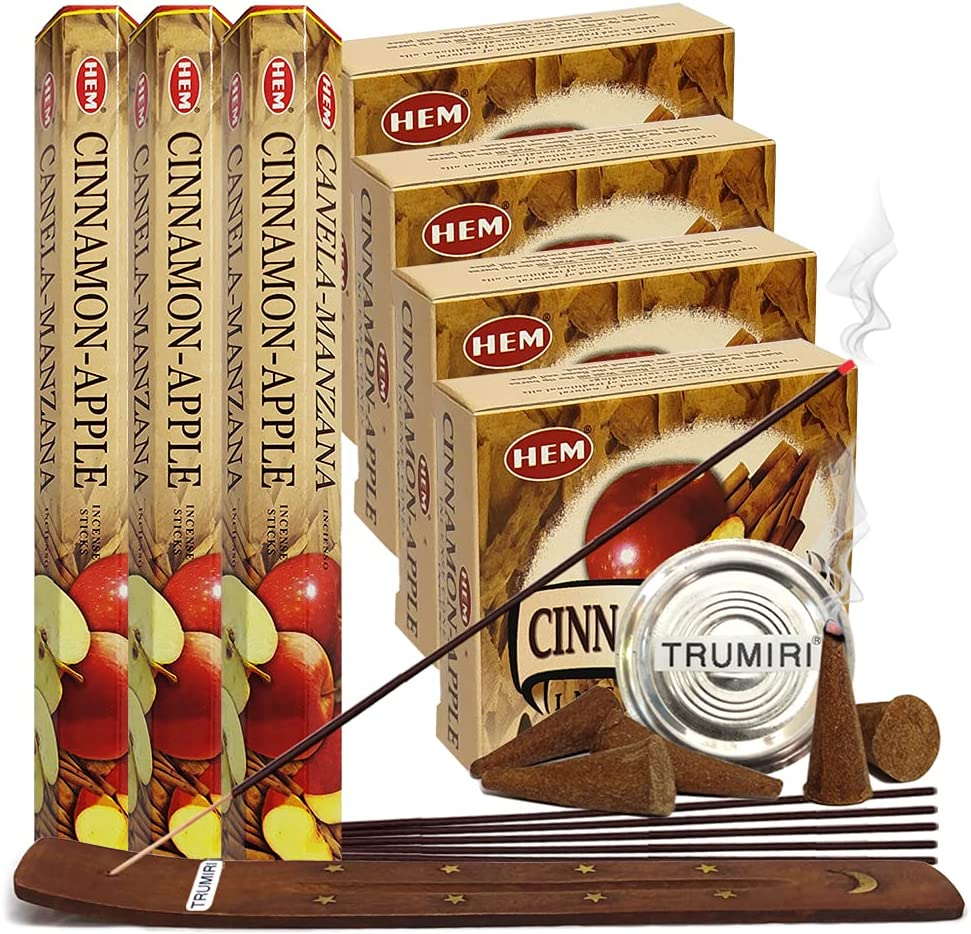 Cinnamon Apple Incense sticks and cone incense holder variety pack bundle insence insense inscents insienso