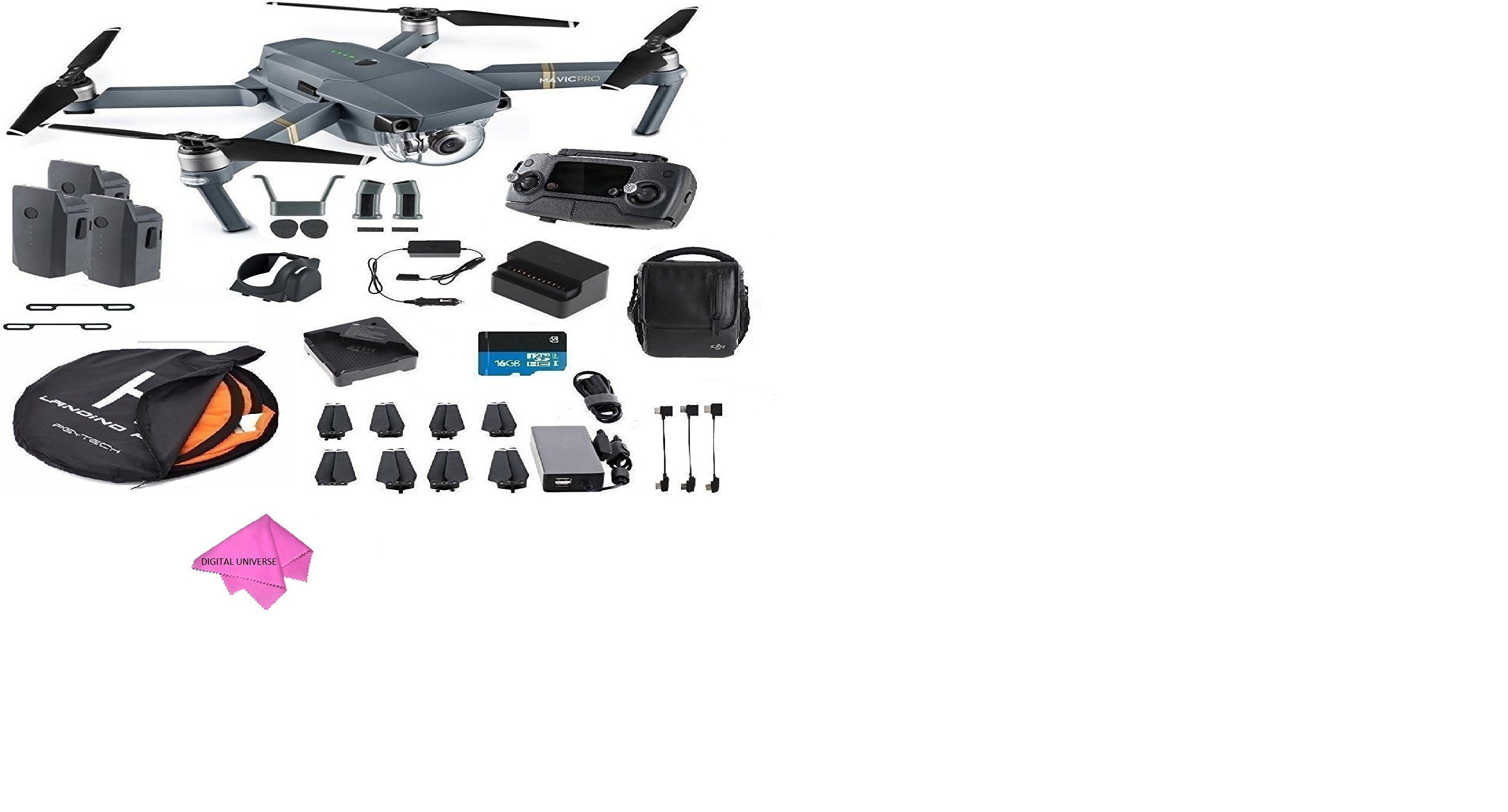 DJI Mavic Pro Fly More Combo Collapsible Quadcopter Safety Bundle: 3 Batteries, Landing Pad, Charging Hub and More by DigitalUniverse