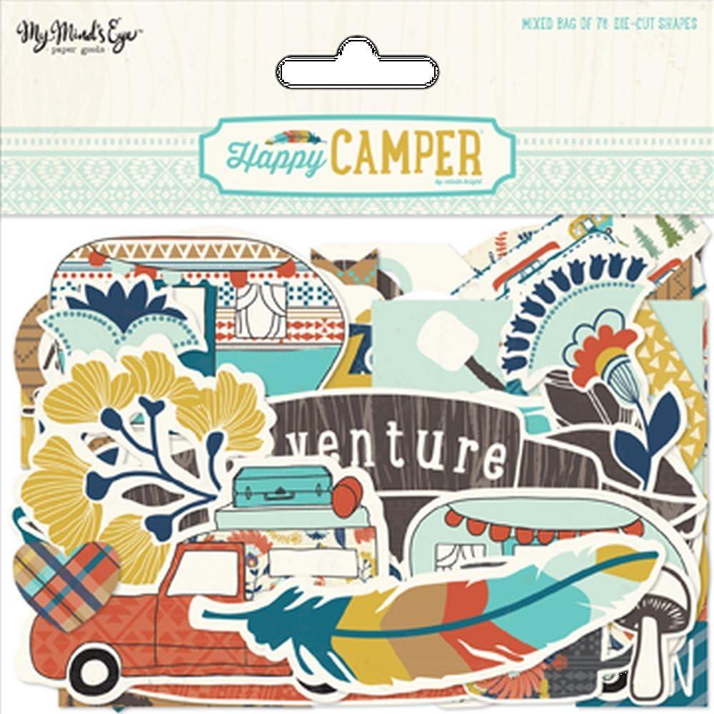 Acryl Mehrfarbig My Minds Eye Happy Camper gemischte tonkartons Stanzformen 7
