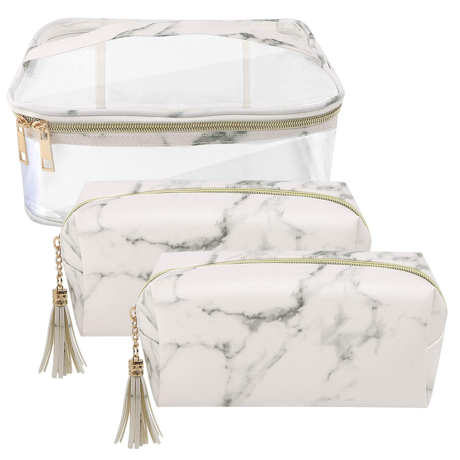 Marble Cosmetic Bag for Women 3PCS Set by NATURE Ann Lady Toiletry Bags Set Portable Storage Bag Waterproof Handbag Travel Organizer Makeup Case Transparent White-Marble